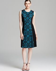 Anne Klein Dress - Sleeveless Lace Inset Fit and Flare | Bloomingdale's