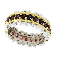 One-of-a-kind Michael Valitutti Palladium Silver Arizona Anthill Garnet Eternity Band Ring (7), Red