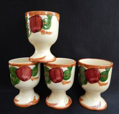 """4 Franciscan Ware Apple Egg Cups, Made in USA , 3-3/4"""" #Franciscan"""
