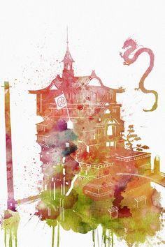 Studio Ghibli Spirited Away Bathhouse with Haku and No Face Watercolor Illustration by Penelope Paw Art Studio Ghibli, Studio Ghibli Films, Anime Yugioh, Anime Pokemon, Totoro, Anime Plus, Anime W, Hayao Miyazaki, Spirited Away Bathhouse