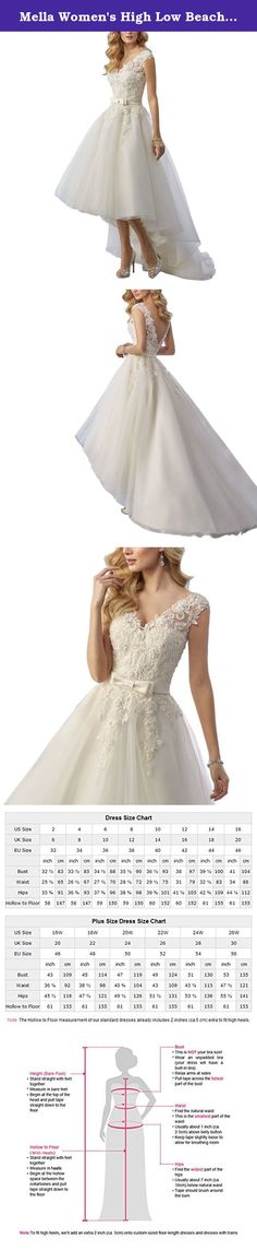 Mella Women's High Low Beach Wedding Dresses for Bride 2017 Lace with Sash White-24W. Mella Women's High Low Beach Wedding Dresses for Bride 2017 Lace with Sash White-24W FREE SUPER GIFT: 30$ worth of long tulle bridal veils with lace appliques, up to 9 ft (approximately 3m), Same Lace pattern as that of the wedding dress shown in picture. Perfect match for the brides. Standard Size Option: Choose the size from the dropdown menu according to our Size Chart Image displayed next to the main...