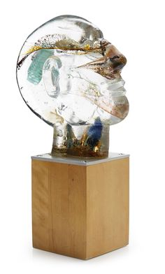 ** Bertil Vallien (Swedish, 1938), Kosta Boda, Sand Cast Glass Sculpture with Internal Ornamentation.