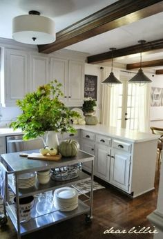 Some Simple and Inexpensive Autumn Touches by Dear Lillie by Mimic Inc. Barn Kitchen, Kitchen Dinning, Country Kitchen, Kitchen Decor, Kitchen Design, Decorating Kitchen, Kitchen Shelves, Kitchen Cart, Kitchen Colors
