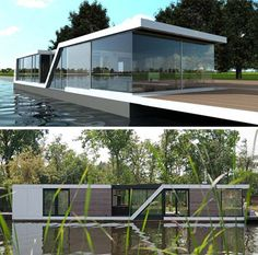 Half-Floating Home: Semi-Submerged Two-Story Houseboat