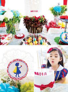 Charming Snow White Birthday Party // Hostess with the Mostess® Snow White Birthday, Disney Birthday, Cinderella Birthday, Baby Birthday, Disney Princess Party, Childrens Party, Perfect Party, Birthday Parties, Birthday Ideas
