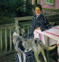 russian-painting: Boris Kustodiev (Russian, - Portrait of Yulia Yevstafievna Kustodieva (the artist's wife), 1903 Russian Painting, Russian Art, Kunst Online, Ukrainian Art, Wow Art, Girl And Dog, Julia, Great Artists, Painting & Drawing