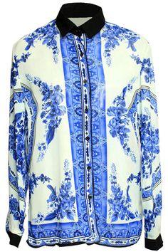 ROMWE | Blue and White Porcelain Printing Shirt, The Latest Street Fashion #romwe