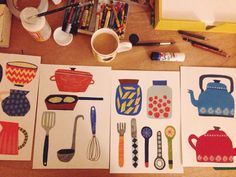 Making some colourful kitchen things  #illustration #design #surfacedesign #collage by herbertgreenuk