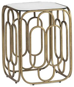Foster Mid Century Modern Deco Geometric Square End Table - nightstands and bedside tables - Kathy Kuo Home
