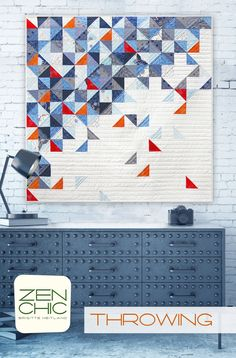 Throwing has randomly spread triangles, a modern beginner quilt by Zen Chic, making use of three Charm Packs from the April 2017 available collection TRUE BLUE by Zen Chic for Moda. Download your PDF pattern today!