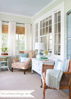 Love the casual vibe, but with the classic furniture - I've seen that chair in many thrift stores. Just a clean up and some reupholstering needed.