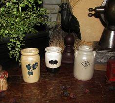 Primitive Antique Vtg Style Decor Blue Floral Flower #8 Mini Resin Crock Jar Set #NaivePrimitive