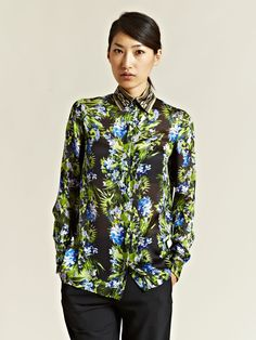 Givenchy Women's Printed Silk Shirt