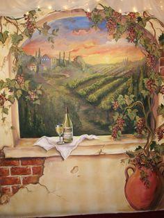 Custom Murals Italian Vineyard landscape MURAL by MariasIdeasArt