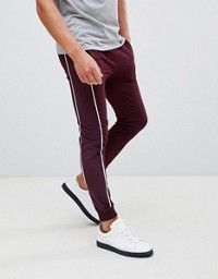 ASOS DESIGN super skinny joggers with velour side stripe and piping in burgundy Super Skinny, Skinny Fit, Maroon Joggers, Skinny Joggers, Striped Polo Shirt, Athletic Wear, Mens Clothing Styles, Minimalist Fashion, Fitness Models