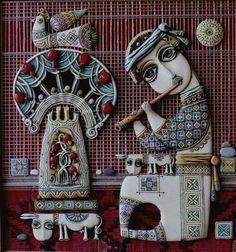 Tsolak Shahinyan 's Ceramic Figures, Ceramic Art, Cultural Crafts, Abstract Face Art, Clay Design, Naive Art, Mural Art, Clay Crafts, Clay Art