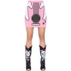 Jeremy Scott Women Guitar Jacquard Rayon Knit Mini Skirt ($240) ❤ liked on Polyvore featuring skirts, mini skirts, pink, jeremy scott, mini skirt, short pink skirt, knit mini skirt and white skirt