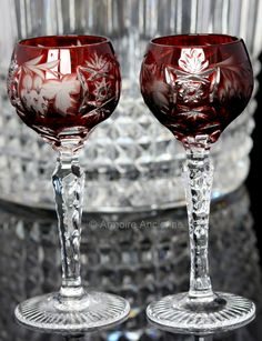 Ruby Red Crystal Liquor Glasses, Cordial Glasses, Grapes Decor, Set of 2 // German Crystalware // Mid Century Barware, Bar Cart Accessories