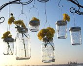 12 DIY Mason Jar Lanterns Lids Wedding Hanging Candle Holders, Flower Vases, Upcycled Ball Jar Garden Party Lids Only, No Jars. $36.00, via Etsy.