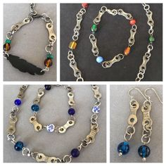 "New recycled bike chain jewelry sets! Featuring necklaces, bracelets, and earrings. All pieces sold as a set or individually. Check em out NOW in the ""jewelry sets"" section of The Maybird Jewelry Etsy shop!"