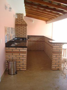 A casa da Mi: Churrasqueira e Área de lazer... Outdoor Spaces, Outdoor Living, Outdoor Grill, Bbq Grill, House Rooms, Pergola, Kitchen Design, House Plans, Sweet Home