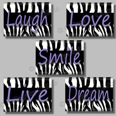 zebra decorations | ... Zebra Print Quote Smile Dream Live Love Laugh Art Girl Room Wall Decor