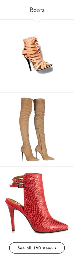 """""""Boots"""" by lustydame ❤ liked on Polyvore featuring shoes, boots, heels, botas, camel, stretch leather boots, thigh high leather boots, thigh high heel boots, over the knee heeled boots and over knee leather boots"""