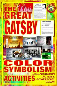 Students are intrigued by the color symbolism in The Great Gatsby.  Enhance your instruction with these three activities: first, a collaborative activity guides students through the text and symbolism. A beautiful vibrant PowerPoint illustrates the symbolism, and finally, students demonstrate their understanding through an essay.  #highschoolenglish #secondaryela #tpt Tools For Teaching, Teaching Resources, Classroom Resources, Teaching English, English Teachers, Color Symbolism, High School English, English Activities, American Literature