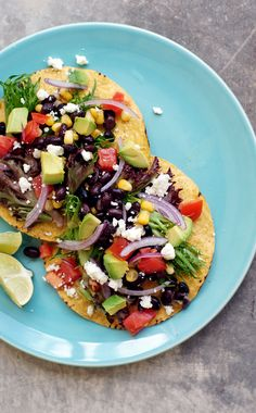 Mexican tostadas with beans and avocado - http://onetwosimplecooking.com
