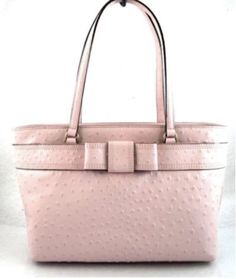 Kate Spade Valencia Road Ostrich Leather Bridged Tote Bag Pink for sale online Kate Spade Purse, Valencia, Louis Vuitton Damier, Dust Bag, Satchel, Auction, Shoulder Bag, Tote Bag, Handbags