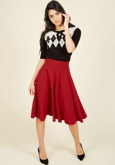 Bugle Joy Midi Skirt in Scarlet in XS, #ModCloth