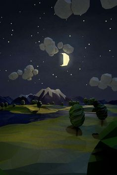 Low-Poly Night Scene