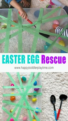 Here is a fun Easter egg rescue sensory bin that makes a perfect indoor activity for toddlers and preschoolers. It's also an amazing fine motor activity that is super simple to set up and clean up! craft for infants Easter Egg Rescue - Fine Motor Activity Indoor Activities For Toddlers, Preschool Learning Activities, Infant Activities, Interactive Games For Toddlers, Sensory Play For Babies, 8 Month Old Baby Activities, Farm Sensory Bin, Day Camp Activities, Easter Activities For Toddlers