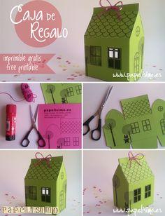 Caja de regalo casa con plantilla | http://papelisimo.es/caja-casa-papel/