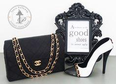Chanel purse cake & fondant shoe by tantepollewop.com