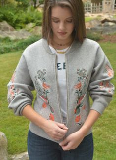 Gray Embroidered Bomber Jacket| ExVoto Vintage