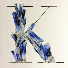 In honor of my favorite single-letter text message response. #K #MINERALPHABET #handlettering  #goodtype #thedailytype #calligritype #typegang #minerals #crystals #kyanite by nim_br