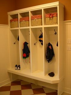 Family Entry, a basket for each tyke with ample seating & hooks to hold coats.