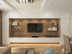 Tv Feature Wall, Feature Wall Living Room, Living Room Tv, Living Room Modern, Tv Unit Interior Design, Interior Design Living Room, Living Room Designs, Coffee Bar Home, Living Room Cabinets