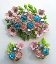 Floral SELINI Enameled Flowers in Pink with Turquoise, Pink, and Lavender Beads Pin & Earrings!