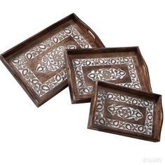 Carved Floral Trays Set- from renewable mango wood. by Asha Handicrafts- fair trade org in India, over 50 cooperatives