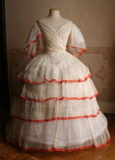 OMG...  I think I want a sheer ballgown now...  Ballgown, ca 1852, Abiti Antichi