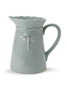 Ceramic Turquoise French Style Dragonfly Water Lemonade Jug Pitcher 53oz $24.99  <3 <3 <3