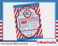 A Fun Fourth of July BBQ invitation. Fireworks, red white and blue, stars and stripes, it's all here for a patriotic party celebration!