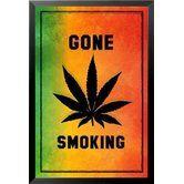 Found it at Wayfair - 'Gone Smoking Marijuana Leaf Sign' Print Poster Framed Graphic Art #buyartforless