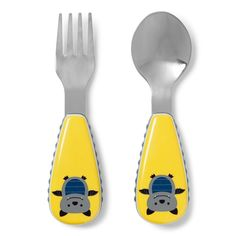 Help your kiddo feel more like an adult during mealtime with this Skip Hop fork and spoon set, featuring soft side grips that are perfect for little learner hands. Skip Hop Zoo, Stainless Steel Dishwasher, Forks And Spoons, Gabel, Utensil Set, Animal Design, Baby Feeding, Villa, Cleaning