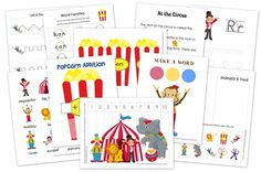 Free circus themed printables for preschool and kindergarten children