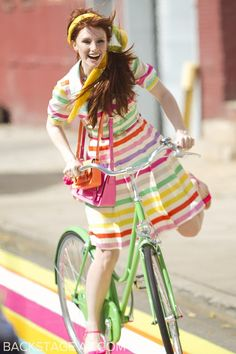 Bryce Dallas Howard for the Kate Spade Campaign Cycling Outfit, Cycling Clothes, Bryce Dallas Howard, Kate Spade, Female Cyclist, Bicycle Girl, Sexy Women, Bikers, Glamour