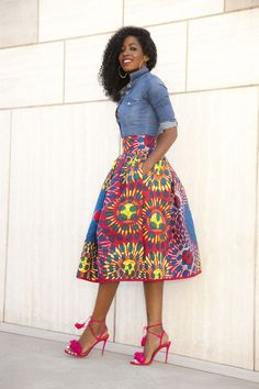Wearable Wants, bright skirt, patterned skirt, bell skirt, street style, pink shoes
