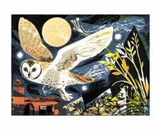 Greeting card reproduced from a linocut by Mark Hearld.  140 x 170mm with grey craft paper envelope.  Recycled and/or FSC approved materials. Biodegradeable packaging.  Published by Art Angels.